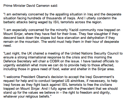 Cameron on Iraq